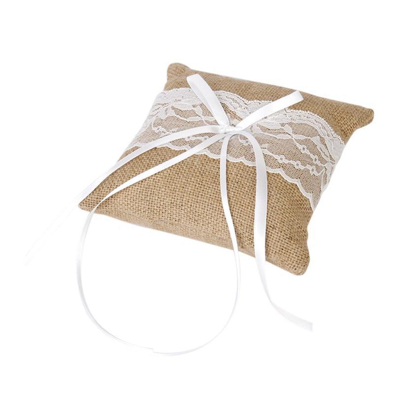 15*15cm Lace Bow Ring Pillow Vintage Burlap Jute Decoration Ring
