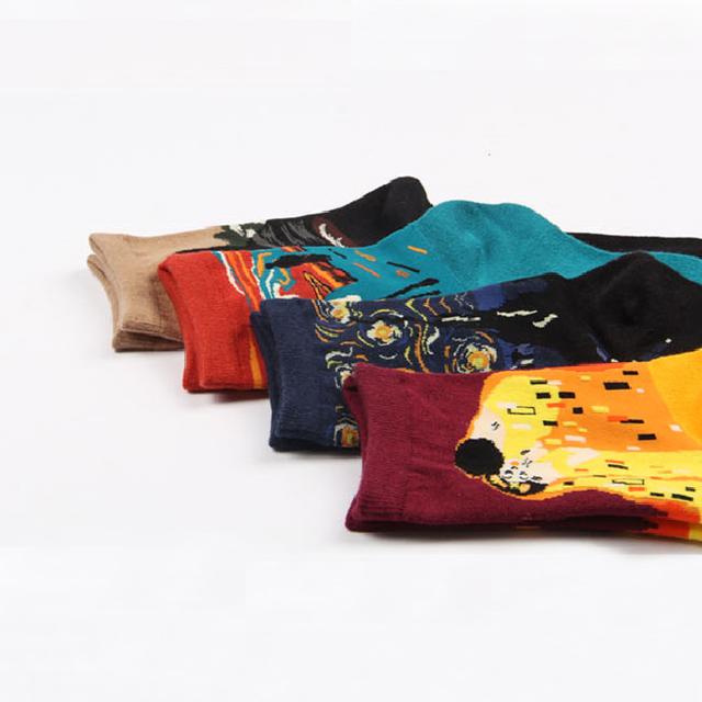 Calcetines modernos de algodón peinado para mujer, calcetines de diseño creativo, calcetines para amantes de Mona Lisa Van Gogh, noche estrellada