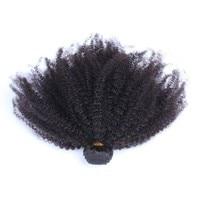 מונגולי האפרו מקורזל שיער מתולתל Weave חבילות צבע טבעי 100% שיער אדם הלא רמי CARA 1 Piece