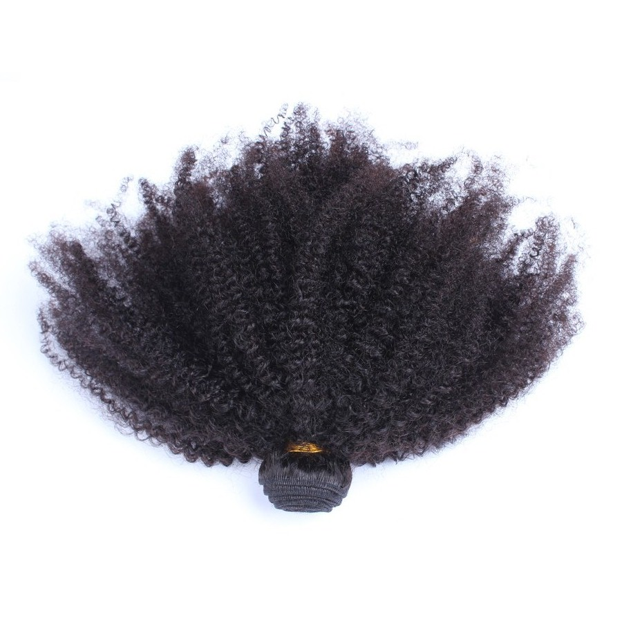 Mongolian Afro Kinky Curly Hair Weaving Natural Color Non-Remy Human Hair Bundles 1 Piece CARA