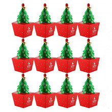 20 Pack Christmas Tree Gift Boxes, Party Favor Candy, Peppermint Candy Bags Paper Goody Boxes Bell Merry Box