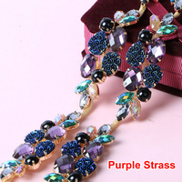 Trimming Plated gold Base Cup Chain Sew On Purple Strass Rhinestones Chain Wedding Dress Decoration