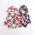 2016 Children Flower Floral Outerwear Spring Autumn Baby Girls Hooded Clothes Pockets Zipper Jackets Kids Clothing 6pcs/LOT