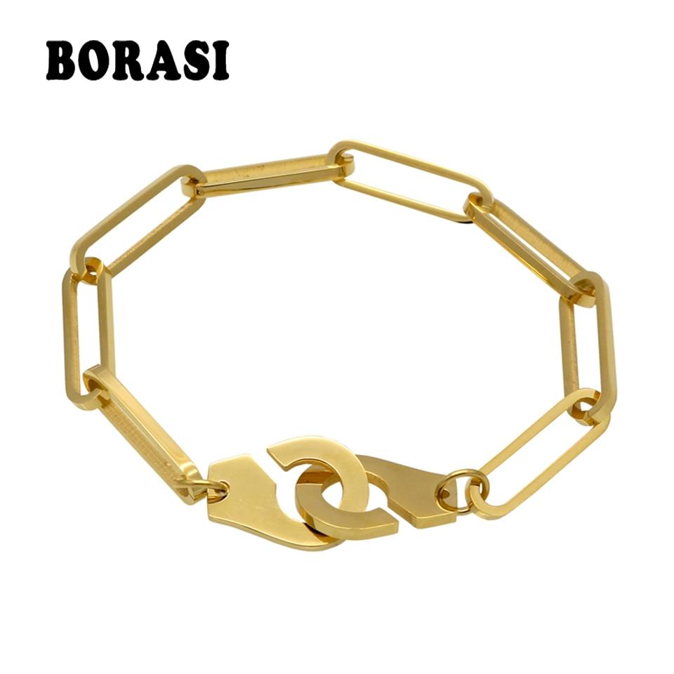 18-21 cm Männer Handschellen Armband Edelstahl Manschette Armbänder Armreif Femme Kette Gold Farbe Armband Für Frauen Schmuck pulseiras