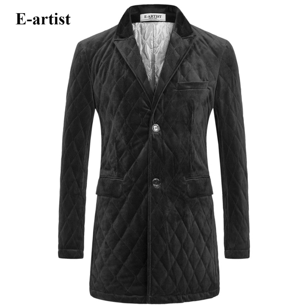 E-artist Men's Casual Long Velvet Padded Cotton Jackets Coats Male Thicken Winter Parkas Outwear Overcoats Plus Size 5XL A65 e artist men s long winter jacket velvet padded jackets trench coats parka thick fit casual outdoor black wine plus size 5xl a65