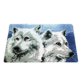 Wolf Latch Hook Kit Rug Carpet Kit DIY Embroidery Cross Stitch Thread Mat Needlework Yarn Cushion Embroidery Tapestry Home Decor