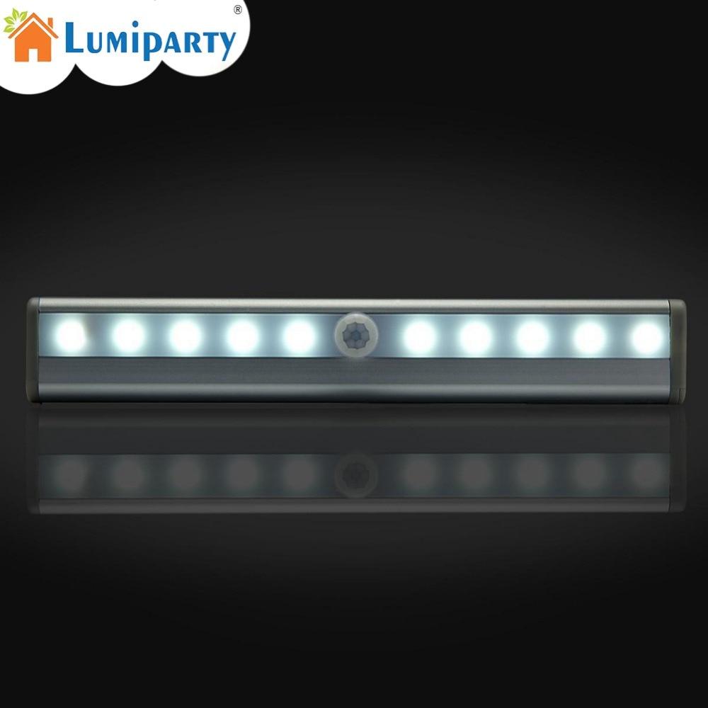 LumiParty Motion Sensor LED Night Light 10 LEDs Wireless LED Closet Lights 4* AAA Battery Table Lamp Cabinet Bookcase Light