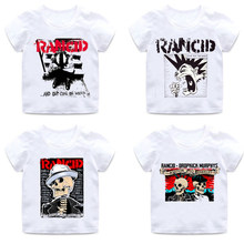 Boys and girls print rock band T-shirt short cotton round neck shirt children's white soft summer casual T-shirt baby clothing(China)