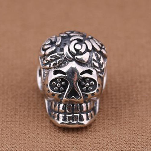 Pure Guarantee 925 Sterling Silver Oxidized Style Big Hole Original Silver Skull Beads Fit Pandora European Charm Bracelet
