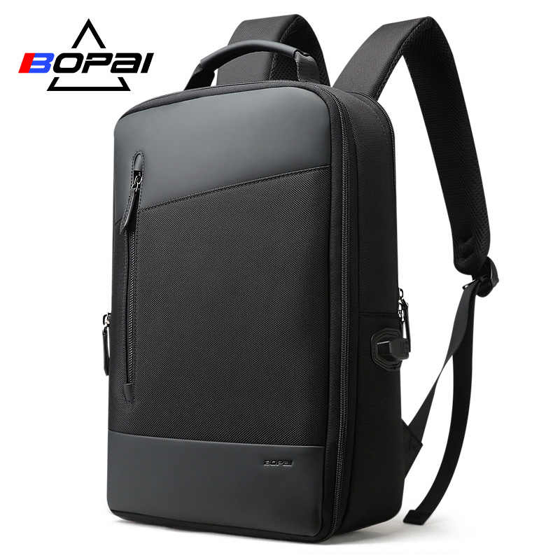 7cc632a2b6 BOPAI Nylon Leather Mens Plecak Turystyczny Fashion Business Expandable Men  Backpacks Black Student Schoolbag Backpack 2018