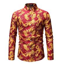 Plant Flower Hawaiian Shirt Long sleeve Casual Blouse Men Floral Stage Mens Shirts Khaki Red Black