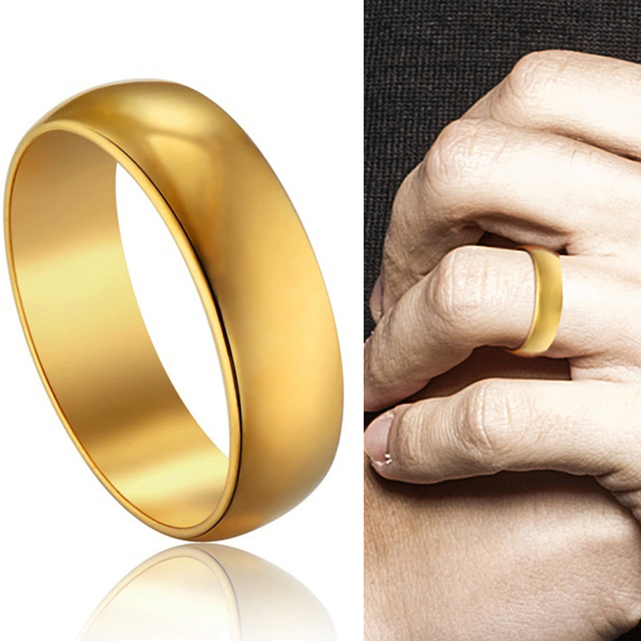 Men's Women's Ring Simple Hip Hop High Quality Finger Ring Gold Color Stainless Steel Wedding Rings For Men Women Jewelry