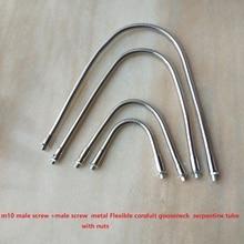 2 יח\חבילה כרום M10 זכר מחבר Dia. 10mm led אווז צוואר מתכת גמיש צינור צינור עם אגוזי רך צינור מתפתל צינור DIY