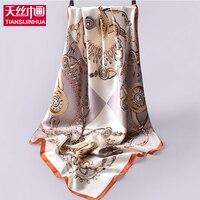 Nieuwe mode 90*90 cm 100% zijde sjaal luxe merk 2017 Satijn twill vierkante print zijden sjaals vrouwen 14mm dikkere pure zijde shawl
