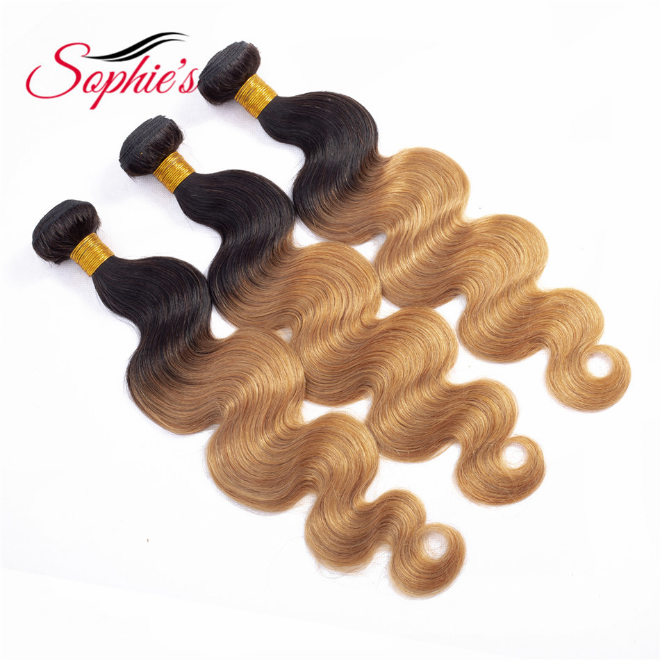 Sophie's Pre-colored Ombre Human Hair 1 Bundles T1B/27 Color  Brazilian  Non-Remy Body Wave Hair Sew In Hair Extensions