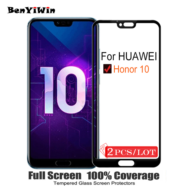 2PCS Screen Protector Tempered Glass 100% Full Cover For Huawei Honor 10 9H Scratch Proof Protective Film Case For Honor10 glass