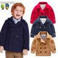 Abrigo de lana Para Niños prendas de Vestir Exteriores Chicos Ropa Niños Chaqueta de Invierno 2016 de Doble Botonadura de Lana Abrigo de Lana Niño Niños Invierno Abrigos