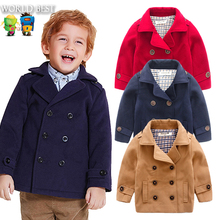 Wool Coat For Boys Woolen Outerwear Boys Winter Jacket Children Clothing 2016 Double Breasted Wool Coat