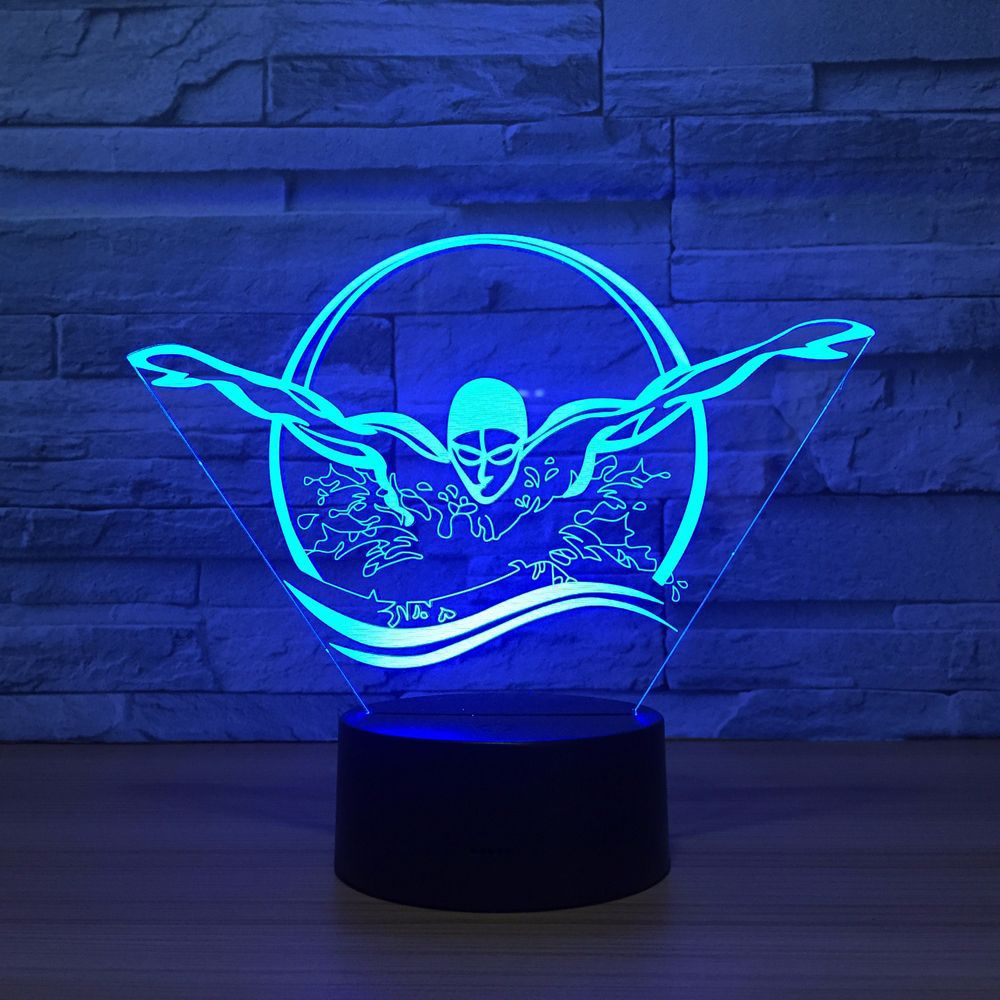 Novelty 3D Swimming Night Light USB Colorful Visual LED Table Lamp Touch Button Sleep Light Gifts Bedroom Decor Free Dropship new bicycles 3d lights led 7 colorful remote control 3d lamp acrylic visual light novelty luminaria led night light