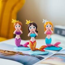 Mini Cute Resin Mermaid Cake Decoration Children Room Decoration Statue Home Office Desk Decorative Ornament Toy Gift