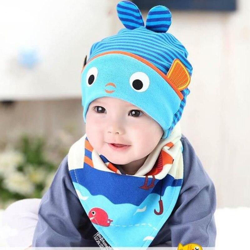 2 Stks / Set Newborn Baby Hat+Bib Set Cartoon Cotton Beanie Baby Boy Girls Hats Kids Hat Accessories 4 Colors M3