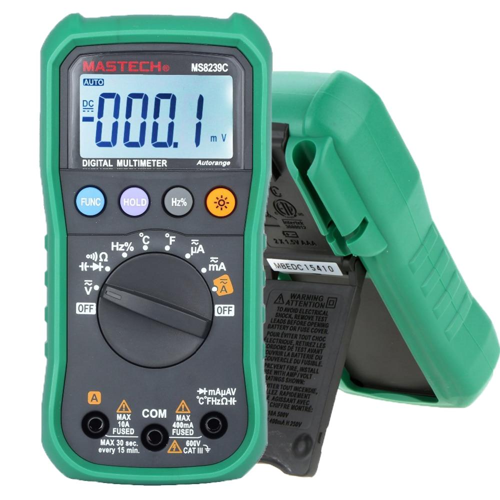 Multimetro digitale MASTECH MS8239C AC DC Tensione Corrente Capacità Frequenza Tester di Temperatura Gamma Auto Multimetro 3 3/4