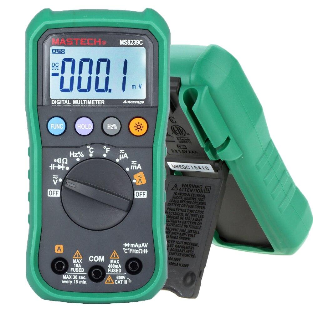 Multímetro Digital MASTECH MS8239C AC DC tensión actual de la capacitancia de frecuencia probador de la temperatura del Auto de la gama de Multimetro 3 3/4
