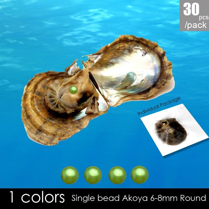 30 pièces eau salée 6-7mm ronde akoya perles couleur vert huître, emballé sous vide coquille de souhait AAA grade huître perle fabrication de bijoux