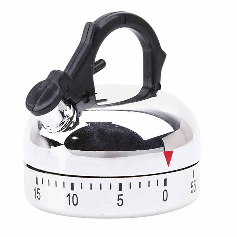 60 Minute Kitchen Timer Alarm Mechanical Teapot Shape Timer Clock Counting Minuteur Cuisine Kettle Styling Clockwork Timer