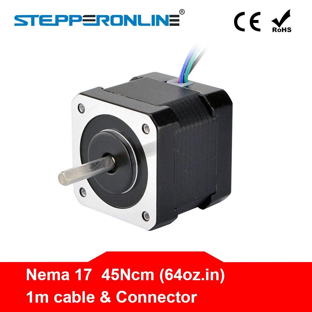 ¡4 Lead Nema 17 Motor paso a paso Motor Nema 17 42 BYGH 40mm 17HS4401 45Ncm (64oz! en) Motor de paso de Cable de 1 m para impresora CNC 3D DIY