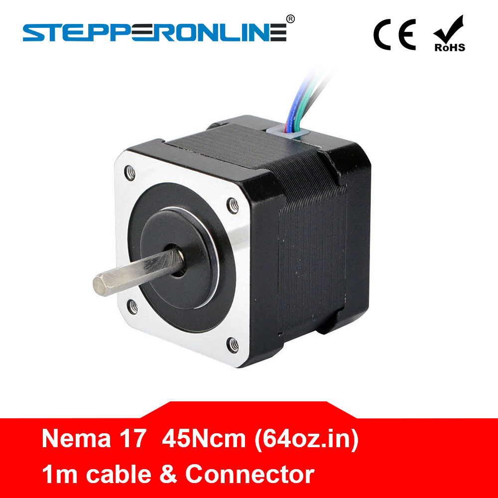 4 Lead Nema 17 Stepper Motor Nema 17 Motor 42BYGH 40mm 17HS4401 45Ncm(64oz.in) 1m Cable Step Motor For DIY CNC 3D Printer4 Lead Nema 17 Stepper Motor Nema 17 Motor 42BYGH 40mm 17HS4401 45Ncm(64oz.in) 1m Cable Step Motor For DIY CNC 3D Printer