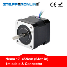 цена на 4 Lead Nema 17 Stepper Motor Nema 17 Motor 42BYGH 40mm 17HS4401 45Ncm(64oz.in) 1m Cable Step Motor For DIY CNC 3D Printer