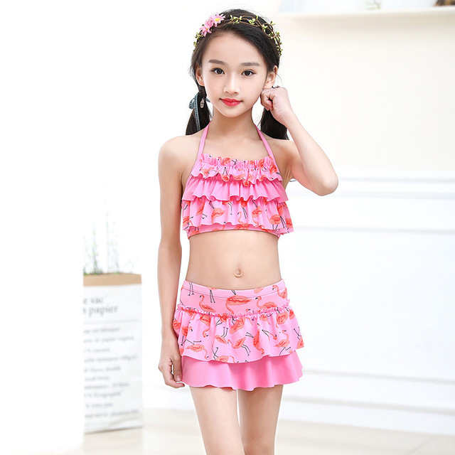 2018 New Girls Two Pieces Suits for Swimming Children Polyester Swimwear Kids Floral Bathing Suit Swim Wear Big Girl Swimsuits
