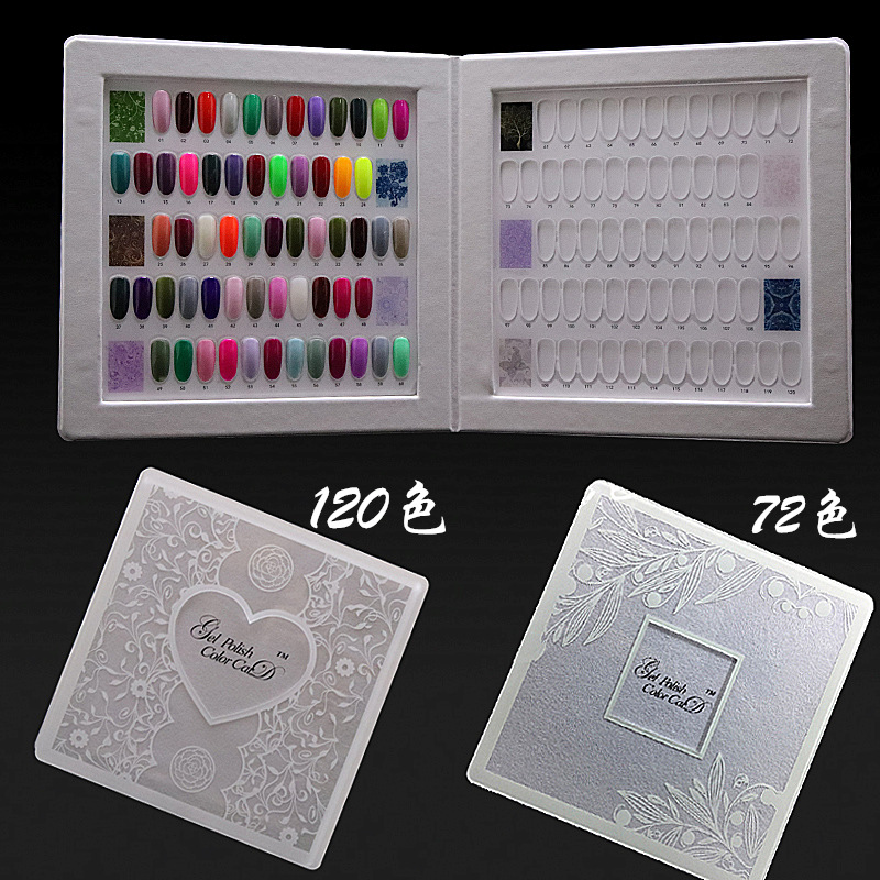 Nail Polish Swatch Book: 72/120 Colors Acrylic Lace Swatch Nail Art Gel Polish
