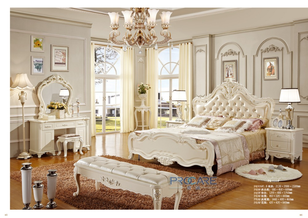 European Royal White Solid Wood Hand Carved Antique Style Bedroom Suite With Bedside Table Dressing Table From Foshan China 916