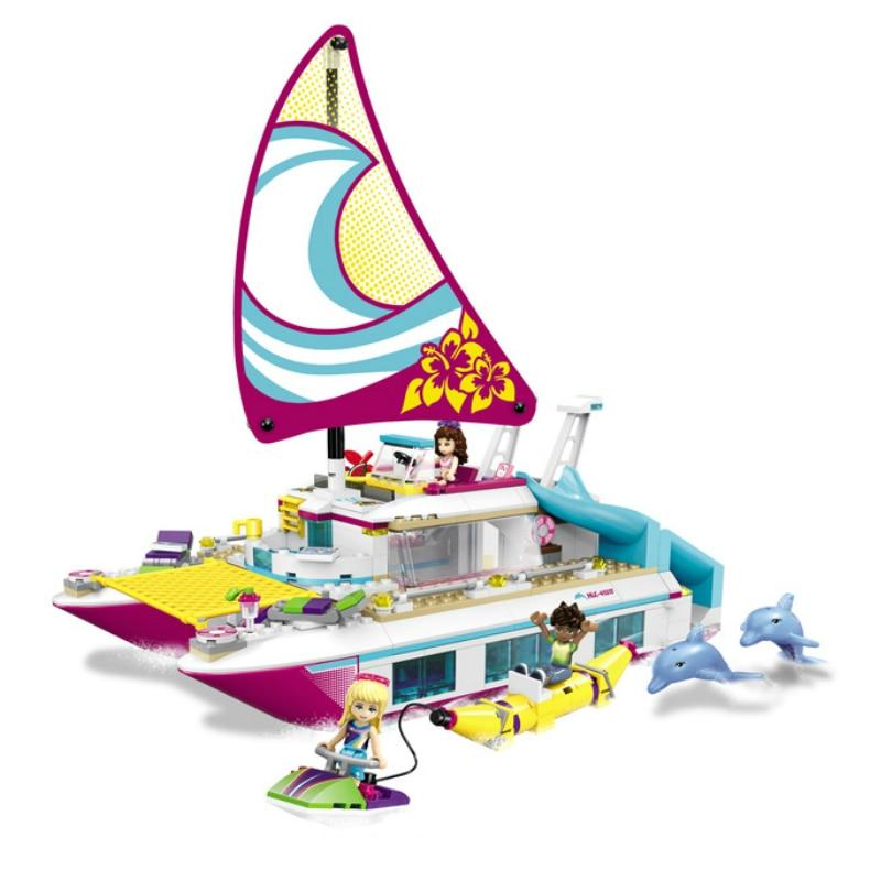 Galleria fotografica 01038 <font><b>Friends</b></font> Sunshine Catamaran Dolphins Olivia Stephanie Girl Toys Model Building Block Brick 41317 Compatible <font><b>Legoes</b></font> <font><b>Friends</b></font>