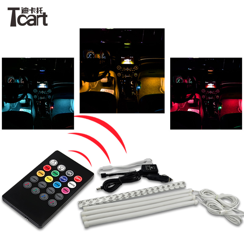 Tcart 1set Car RGB LED Neon Interior Light Lamp Strip Decorative Atmosphere Lights With Remote Controller Decoration Foot Lamp