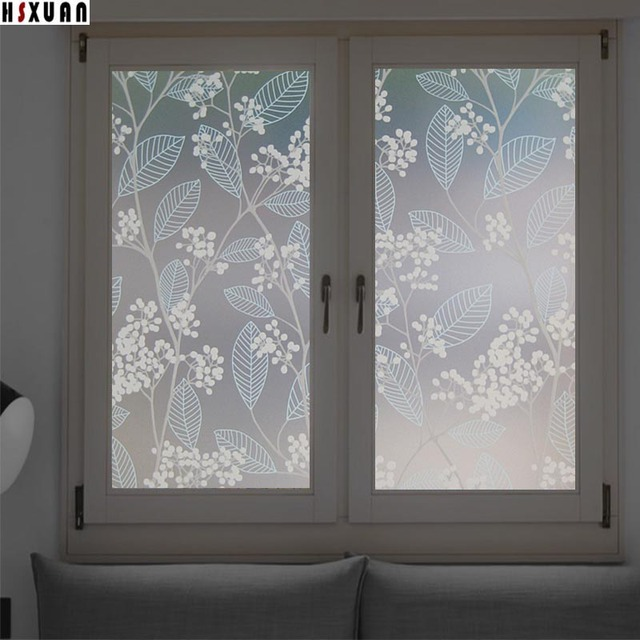 Decorative window films 40x100cm pvc flower privacy removable sunscreen self adhesive glass window stickers hsxuan