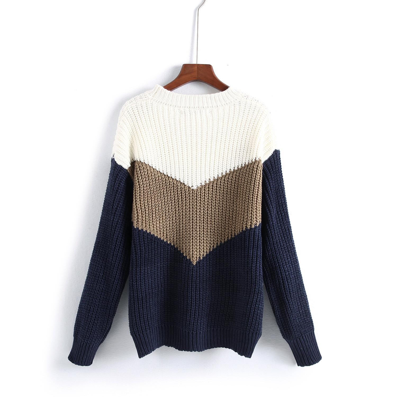 59210169da96 2018 Autumn Women s Loose Three Color Patchwork Sweater Korean Long ...