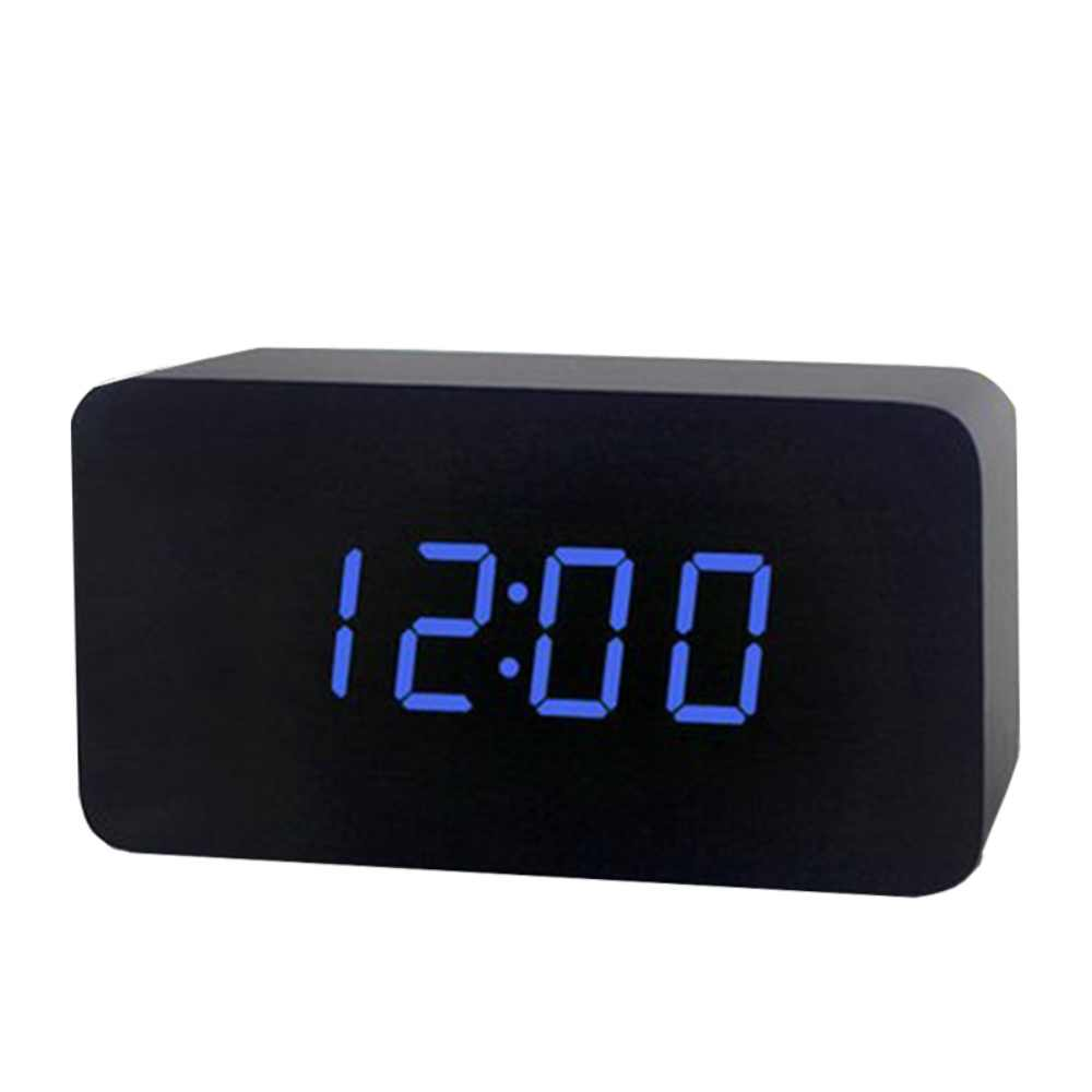 Wood Led Alarm Clock Modern Snooze