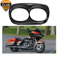 Bright Black Headlight Cover Headlight Bezel Trim Fits For Harley Road Glide RoadGlide 1998 2013