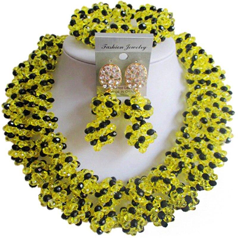 Fantastique jaune noir anniversaire Style africain femmes cristal collier boucles d'oreilles ensembles 2C-SJHQ-21