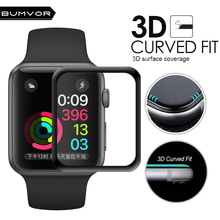 Full Cover 3D Curved Black For Apple Watch 38mm 42mm Series 3 2 1 Plating Tempered Glass Edge Screen Protector Film For iWatch 3d curved soft edge tempered glass screen protective film for apple watch band series 1 2 3 38mm 42mm screen protector cover