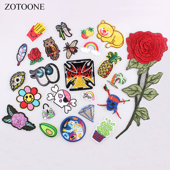 ZOTOONE Patch for Clothing Big Flower Rainbow Skull Space Pineapple Cartoon Iron on Patches Embroidered Appliques DIY Apparel D image