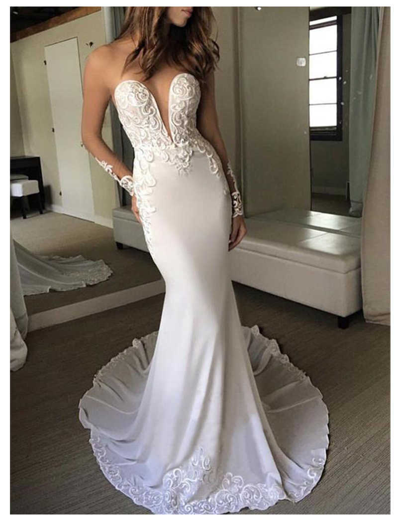 LORIE Mermaid Wedding Dress Long Sleeves 2019 Vestidos de novia Vintage Lace Scoop Neck Bridal Gown Backless Wedding Gowns