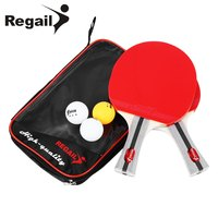 REGAIL 8020 Table Tennis Ping Pong Racket Two Shake Hand Grip Bat Paddle Three Balls Light