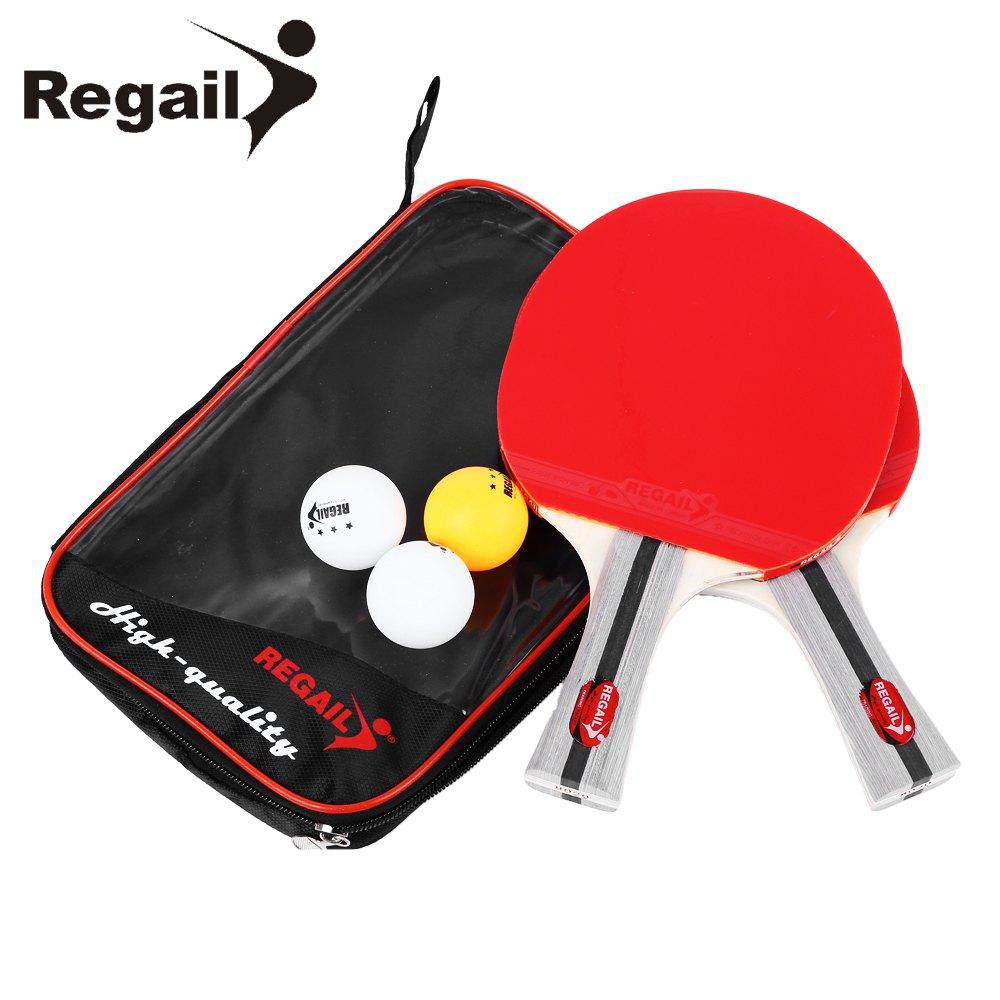 REGAIL 8020 Table Tennis Ping Pong Racket Two Shake-hand grip Bat Paddle Three Balls Light Tip Heavy Handle Table Tennis Racket boer table tennis 1 star ping pong racket paddle