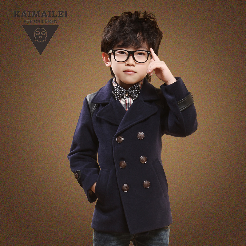 ebbec17b9 Fashion Kids Boys Warm Double Breasted Wool Coat Baby Child Autumn ...