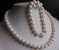 Hot selling free shipping***** New AA+ 10-11MM White Akoya Cultured Pearl Necklace Bracelet Earrings Set
