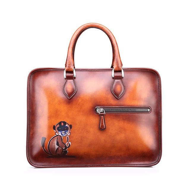 TERSE 3D printed genuine leather briefcase handmade luxury men tote bag  with shoulder strap in orange customize service OEM ODM d52f4f6ba86b4